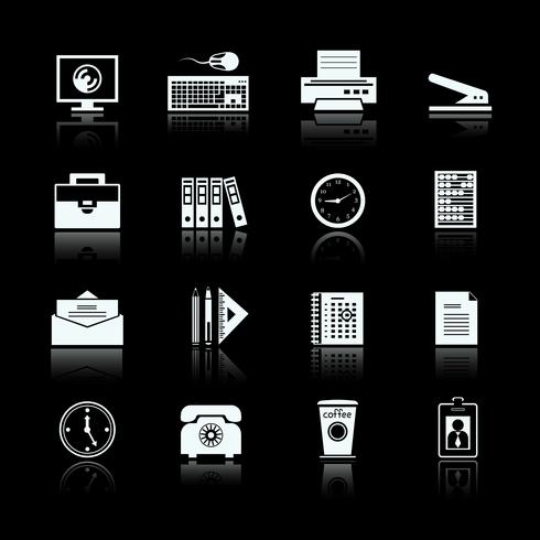 Bedrijfsbureau levert pictogrammen instellen vector