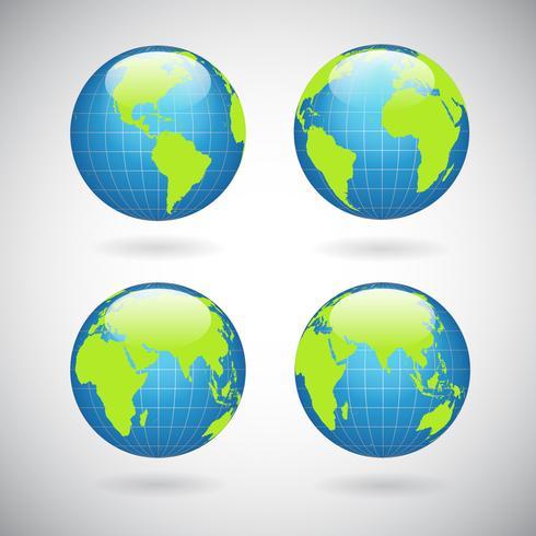 Conjunto de iconos de globo de tierra