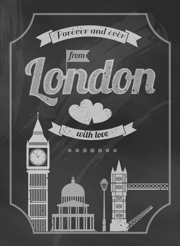 Cartel retro de Londres pizarra amor