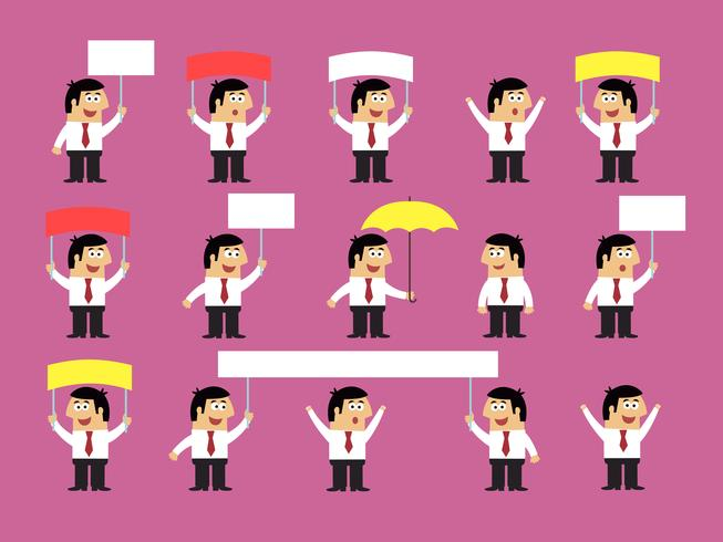 Set di impiegati con le bandiere in bianco
