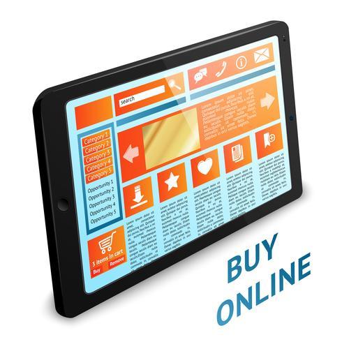 Tableta de compras por internet