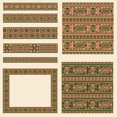 Vector conjunto de coleções de elementos de design étnica da Grécia. Padrão sem emenda ornamental, moldura e bordas