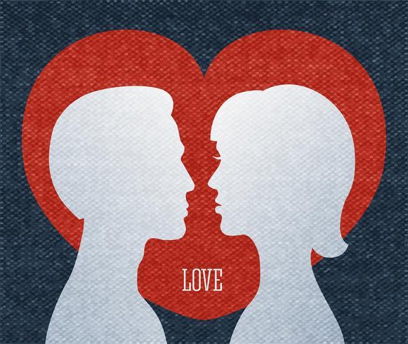 Amor pareja siluetas vector