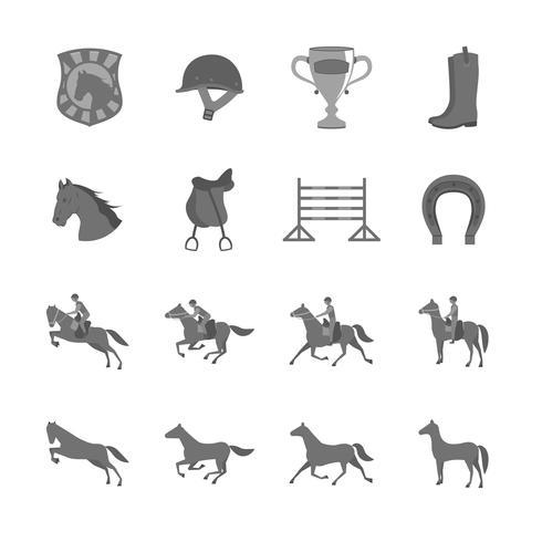 Caballo con jinetes conjunto de iconos planos vector