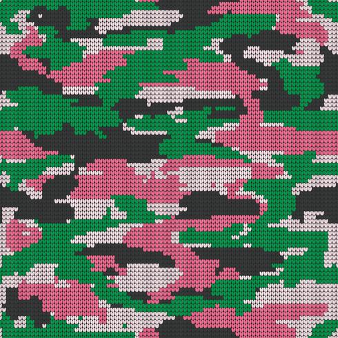 Abstract Knitting Seamless Texture. Military Decorative Camouflage Pattern Background. Vector Illustration.