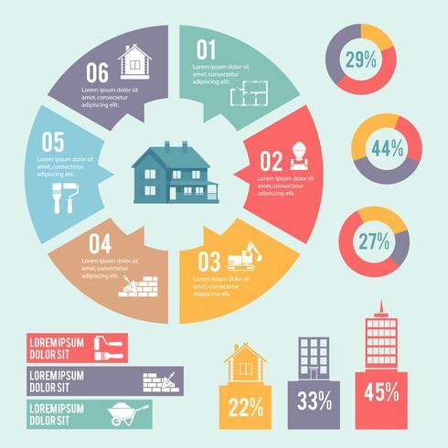 Diagramme de cercle de construction infographique vecteur