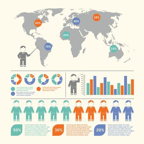 Conjunto de pessoas infográfico vetor