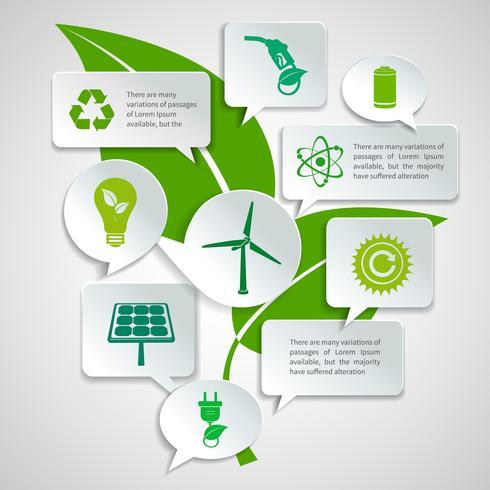 Infográfico de bolhas de papel de ecologia e energia