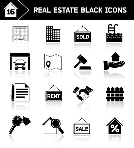 Real estate icons black