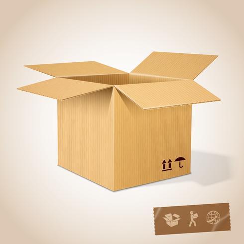 Abrir caixa de papelão realista