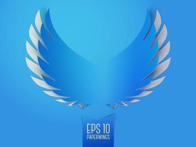 Blauw papier engelenvleugels embleem vector