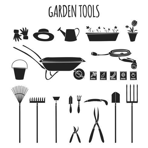Ensemble d'icônes d'outils de jardin vecteur