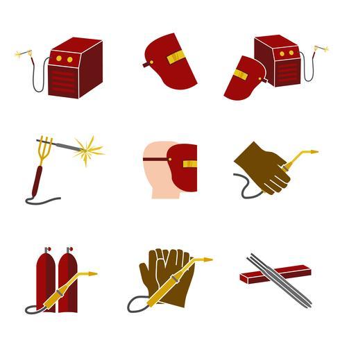 Conjunto de ícones de soldador plana