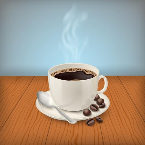 Cup with black classic espresso on the table vector