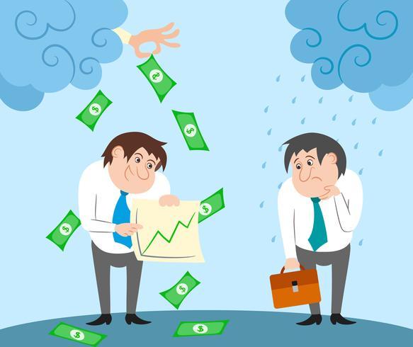 Personajes de negocios exitosos y fallidos.