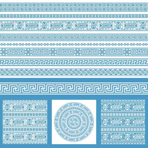 Colecciones determinadas del vector de elementos étnicos del diseño de Grecia. Patrones y bordes sin costuras ornamentales