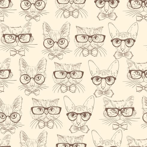 Cat hipsters seamless pattern vector