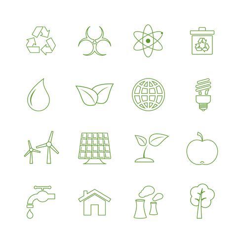 Grön ekologi ikoner uppsättning