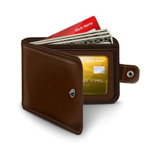 Cartera abierta de cuero con billetes de tarjetas de crédito.
