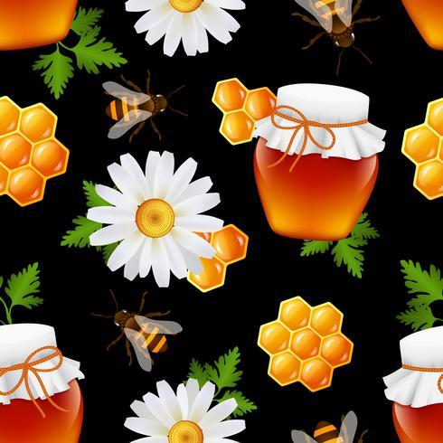 Patrón sin costuras de miel vector