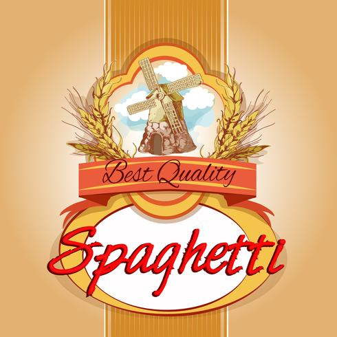 Etiqueta de paquete de espaguetis