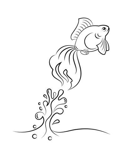 saut de poisson rouge vecteur