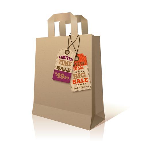 Bolsa de papel con etiquetas promocionales. vector