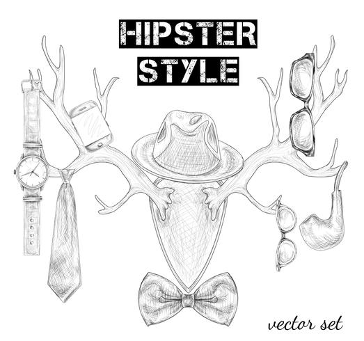 Hand getrokken hipster stijl accessoire set vector
