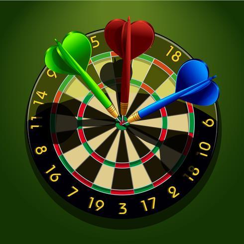 Dartbord met darts in het midden vector