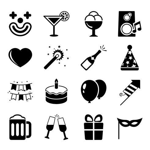 Conjunto de ícones de festa, contraste liso