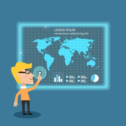 Bedrijfsmens die grote gegevens analyseren