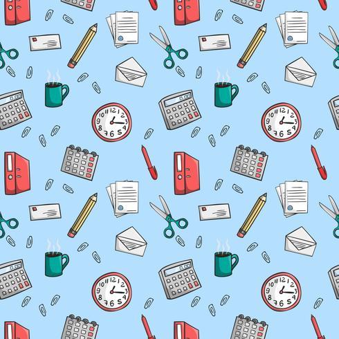 Nahtlose Büro Briefpapier Muster Hintergrund
