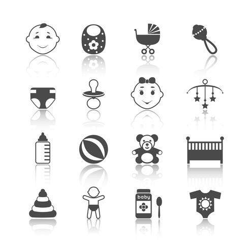 Baby barn ikoner Set vektor