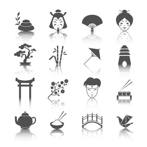 Japanska kultur ikoner uppsättning