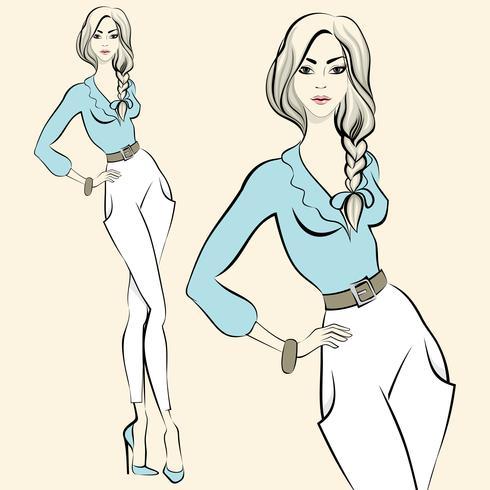 Fashion standing woman emotions vector