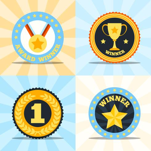 Label flat winner set vector