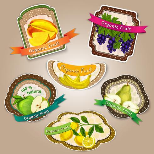 Färska frukter etiketter vektor