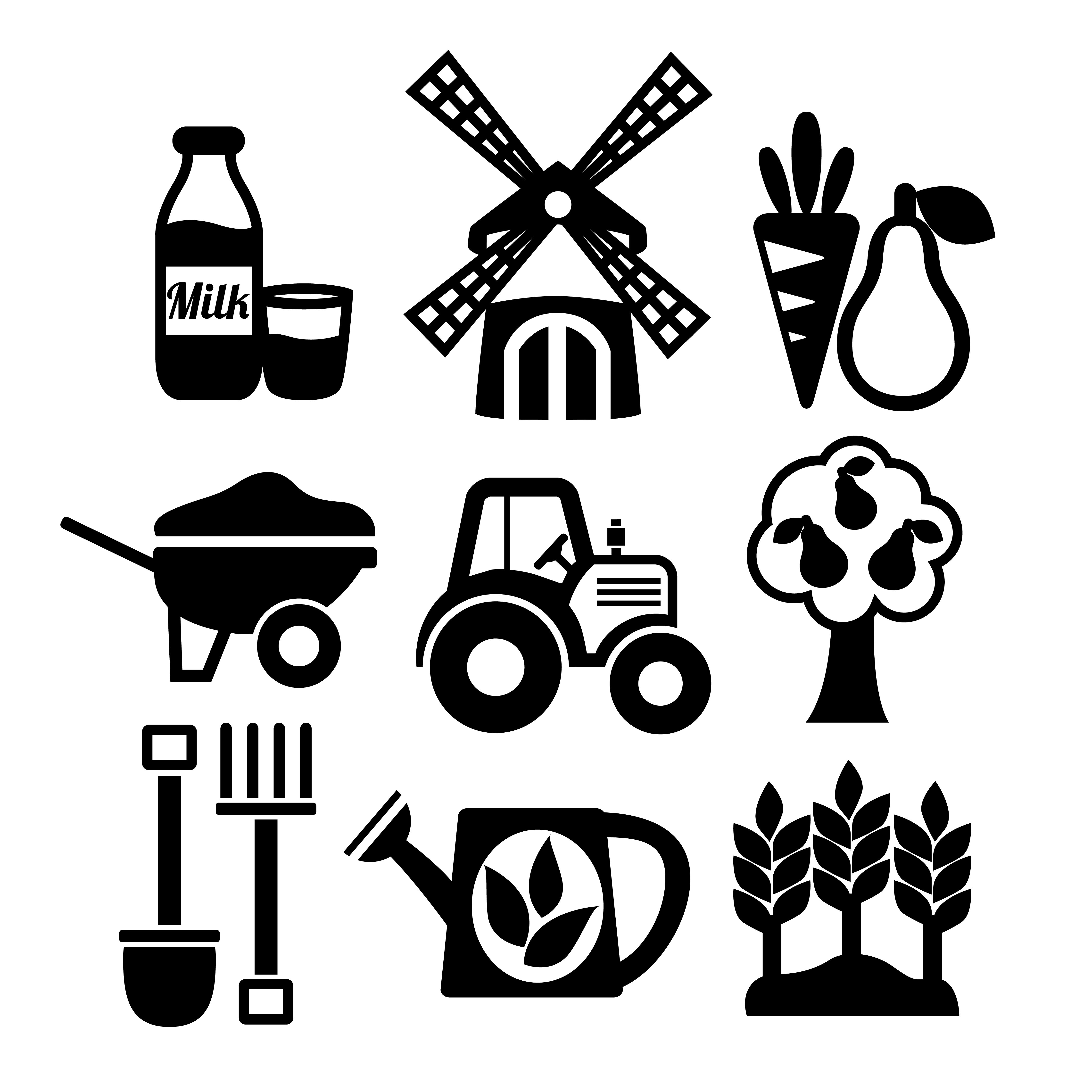 Farming Harvesting And Agriculture Icons Set