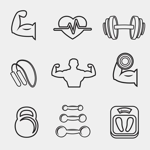 Fitness bodybuilding sport ikoner uppsättning