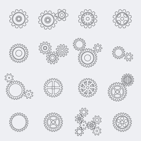 Pictogramas de engranajes, ruedas y engranajes. vector