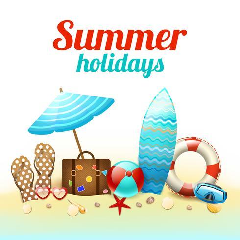 Cartel de fondo de vacaciones de verano vector