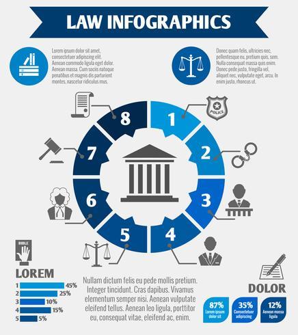 Icone di legge infographic vettore