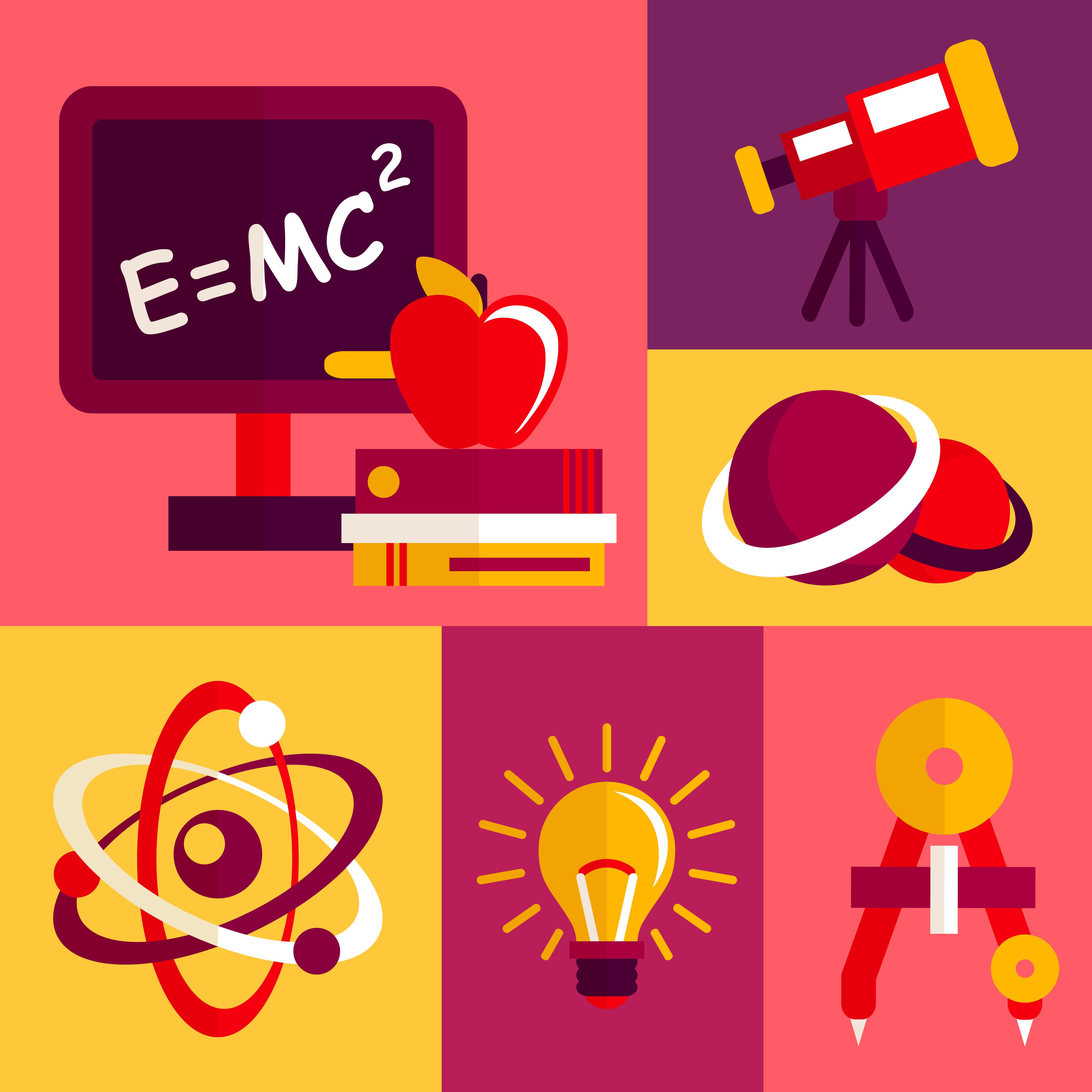 Flat Code Logo Collection: Physics Flat Design Icons Set 435927