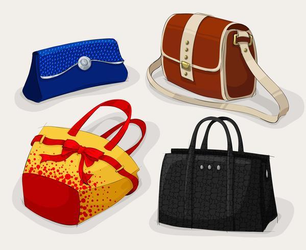 Sammlung von Taschen der klassischen Frau
