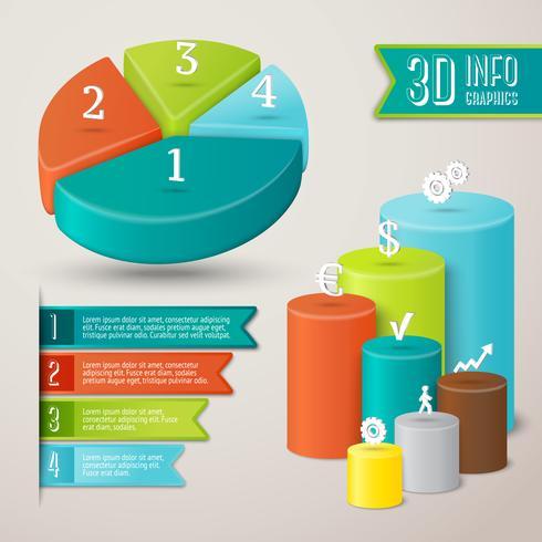 Plantilla de infografía 3d abstracto