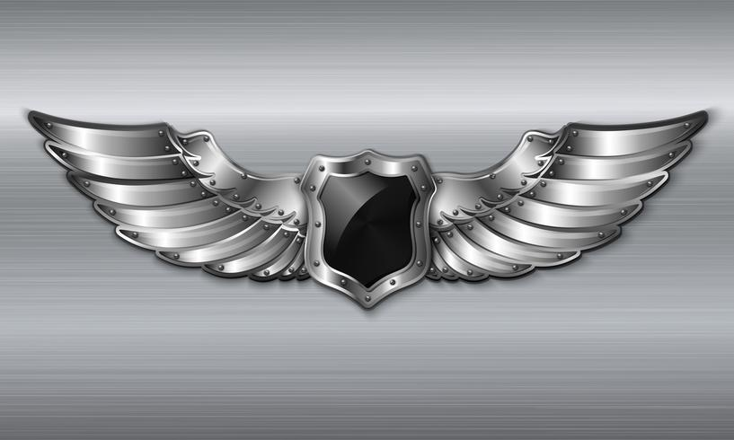 Schwarzes Metallflügelschild-Emblem