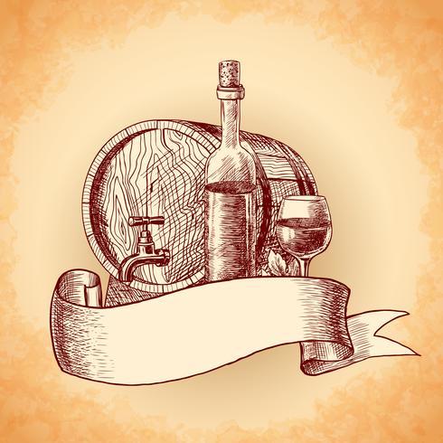 Wine hand drawn background vector