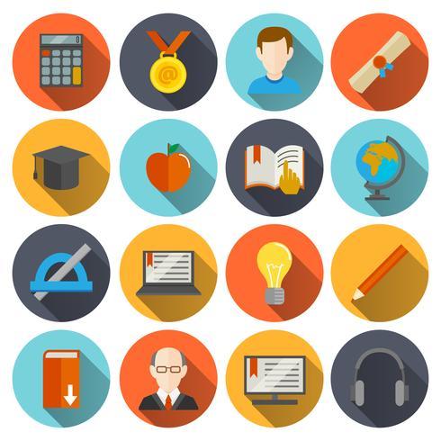 Iconos de e-learning plana vector