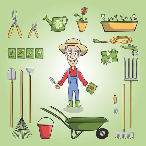 Conjunto de caráter feliz jardineiro