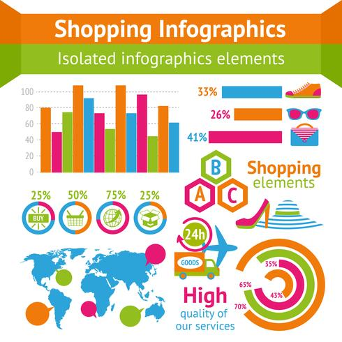 Shopping set di infografica vettore